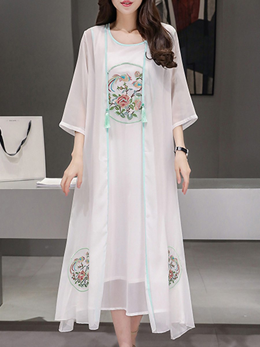 Embroidery Contrast Trim Hollow Out Two-Piece Maxi Dress