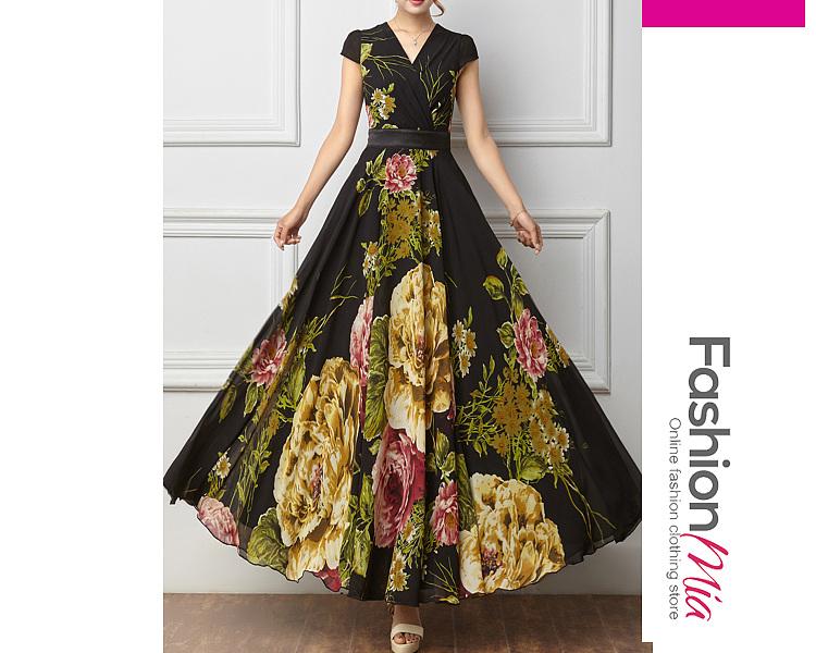 Surplice  Printed Maxi Dresses