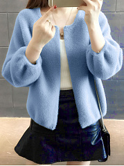 Round-Neck-Solid-Puff-Sleeve-Knitting-Jackets