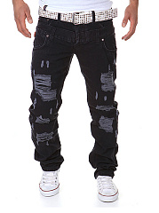 Distressed-Plain-Mens-Casual-Pants