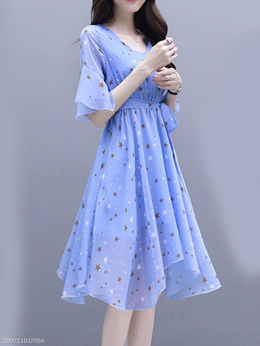Sweet Heart Backless Star Bell Sleeve Skater Dress - fashionMia.com 44fe6d216