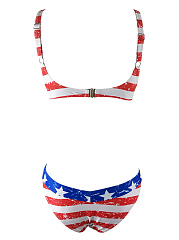 Spaghetti Strap US Flag Printed Push Up Bikini