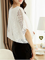 Spring Summer  Polyester  Women  Round Neck  Decorative Lace  Plain  Batwing Sleeve  Half Sleeve Blouses