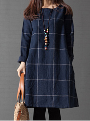 Round Neck Plaid Pocket Shift Dress