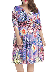 Ruched Deep V-Neck  Floral Printed  Plus Size Flared Dress