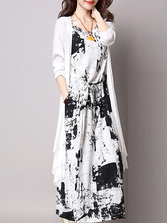 Image of Fashionmia Casual Drawstring Printed Two-Piece Maxi Dress