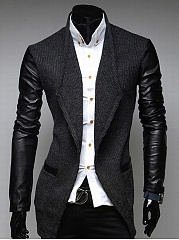 Lapel  Patchwork  Plain Men Coat