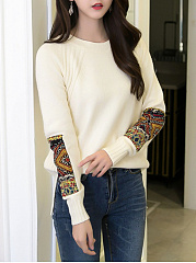 Decorative Printed Patch Round Neck Sweater