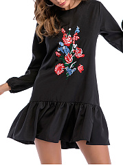 Round Neck  Embroidery Plain Skater Dress