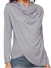 Hooded  Asymmetric Hem  Plain Long Sleeve T-Shirts