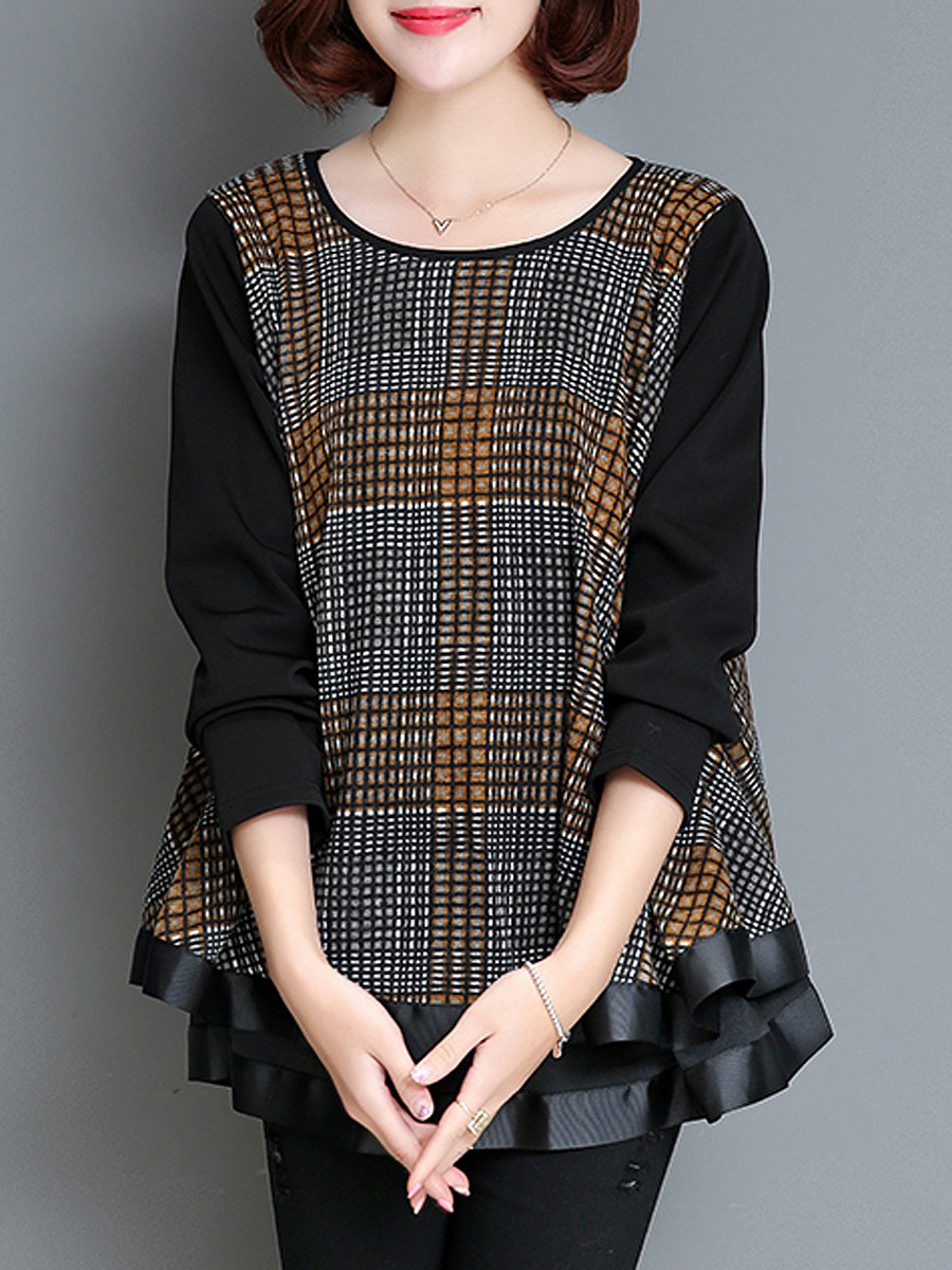 Round Neck  Plaid Blouses