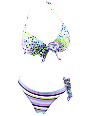 Lovely Halter  Bowknot  Polka Dot Striped Bikini