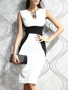 V-Neck  Patchwork  Color Block Colouring Bodycon Dress