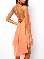Spaghetti Strap  Pleated Bodice Shift Dress