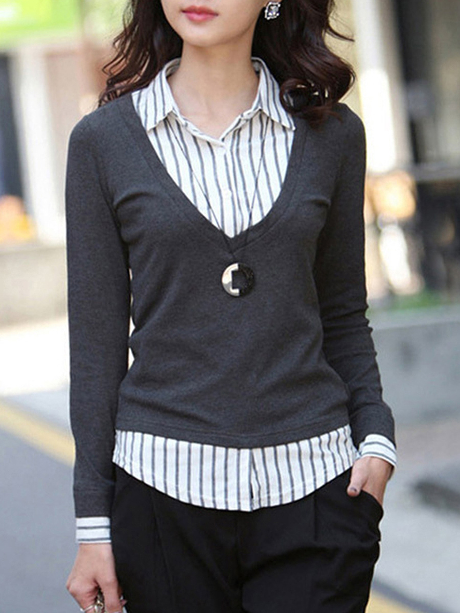 Patchwork Vertical Striped Blouse
