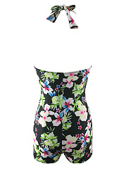 Designed Ruched Floral Printed Halter One Piece