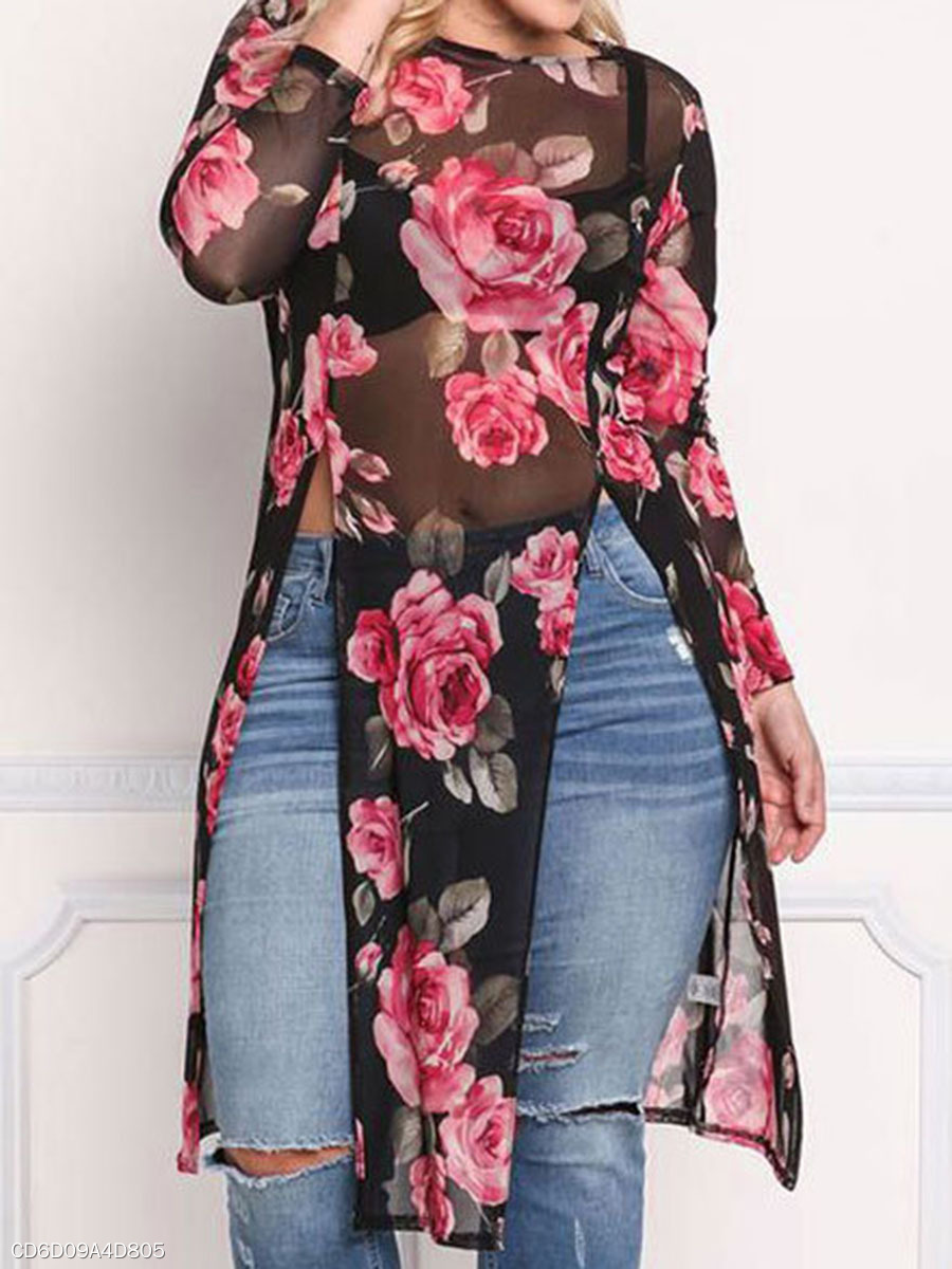 Round Neck  Asymmetric Hem  Printed  Long Sleeve Plus Size Tops