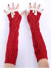 Hollow Out Lace Knitted Warm Fingerless Gloves
