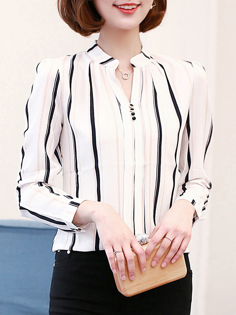 Split Neck  Vertical Striped Chiffon Long Sleeve T-Shirt
