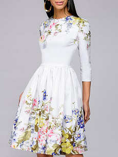 Round Neck  Abstract Print Floral Skater Dress
