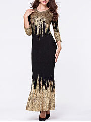 Round Neck Bronzing Split Maxi Dress