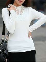 Autumn Spring  Cotton  Women  High Neck  Decorative Lace  Plain Long Sleeve T-Shirts