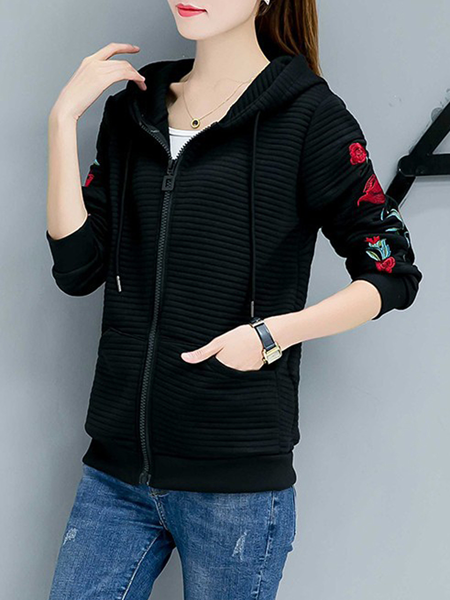 Embroidery Patch Pocket Hoodie