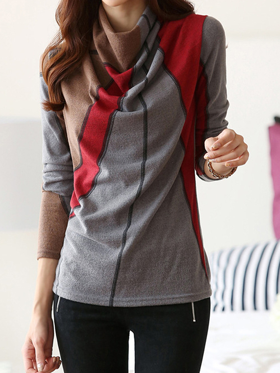 Cowl Neck Color Block Long Sleeve T-Shirt