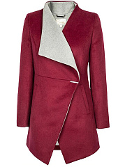 Contrast Lapel Pocket Woolen Coat