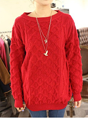 Round Neck  Loose Fitting  Plain Pullover