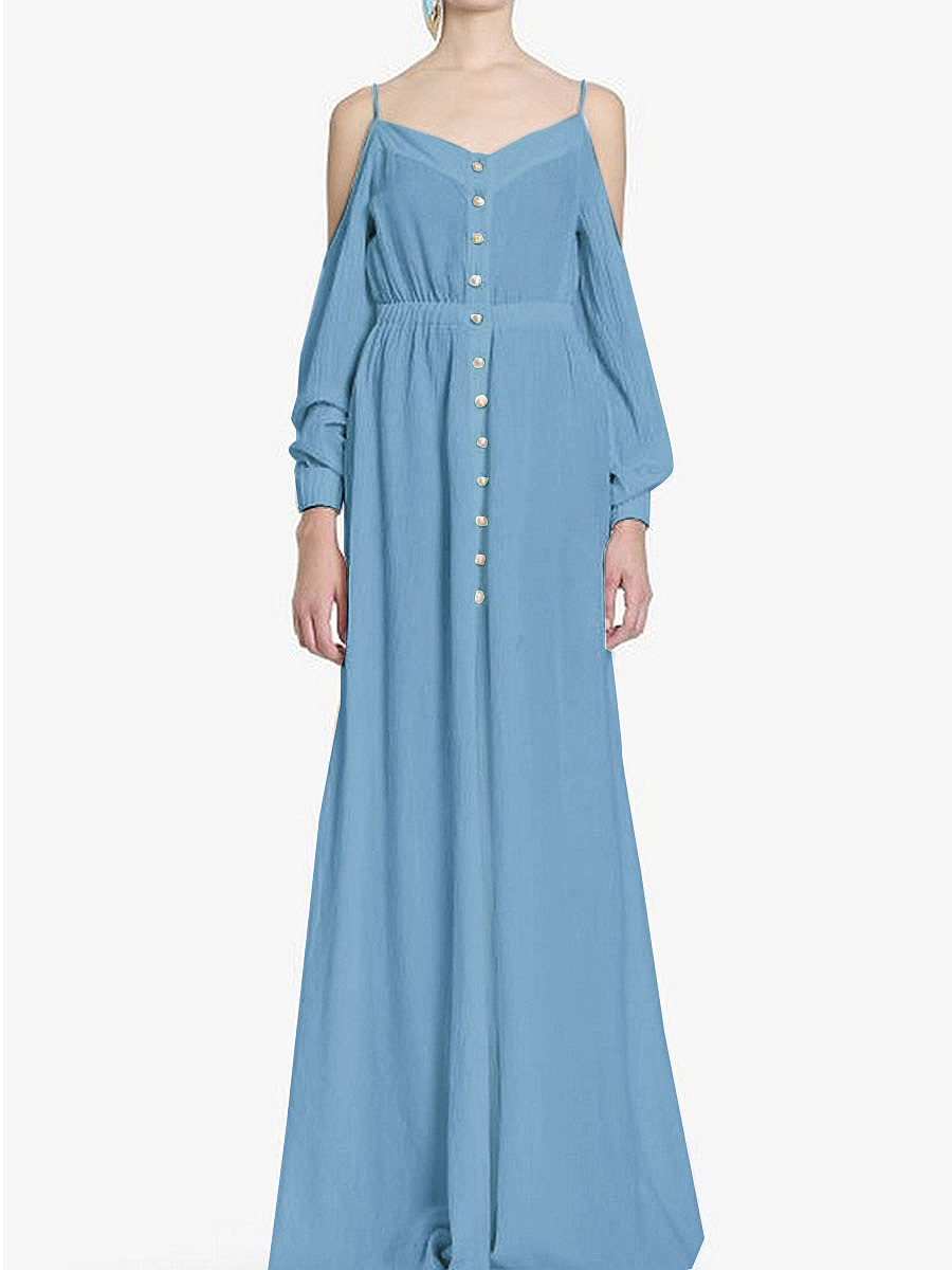 Spaghetti Strap  Elastic Waist  Decorative Button  Plain Maxi Dress