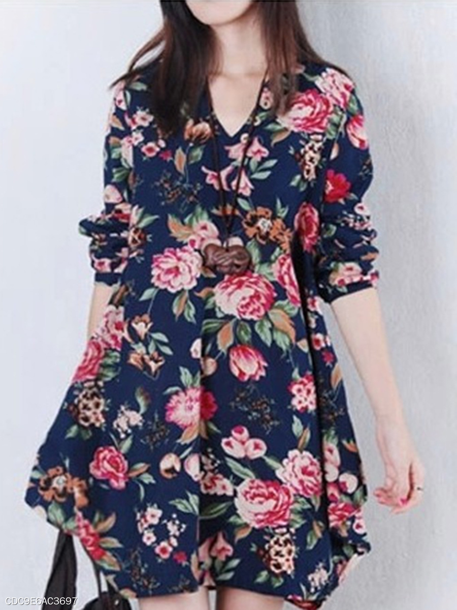 V-Neck  Asymmetric Hem  Floral Printed Skater Dress