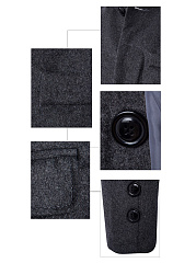 Band Collar  Flap Pocket  Plain Men Woolen Coat