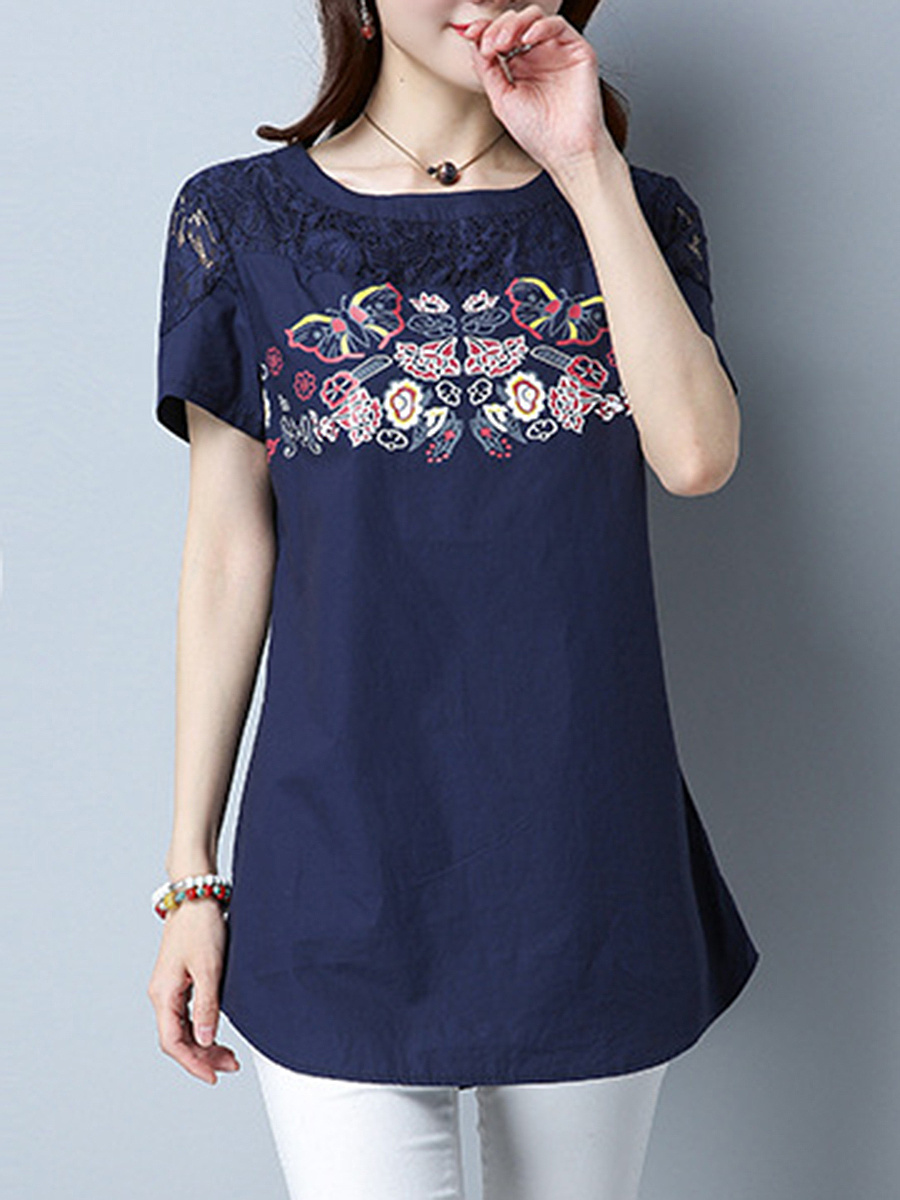 Decorative Lace See-Through Exquisite Curved Hem Short Sleeve T-Shirt