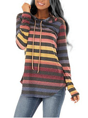Hooded  Drawstring  Gradient Striped  Long Sleeve Sweatshirts