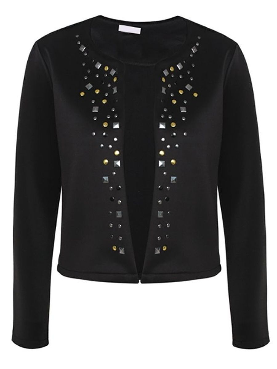 With Rivet Awesome Round Neck Cardigan. With ...