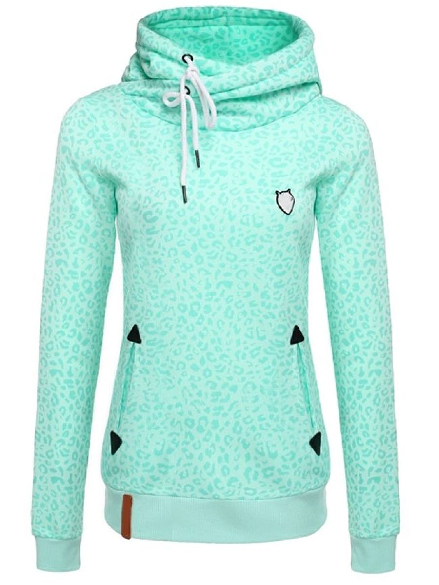 Leopard Printed With Pockets Attractive Hooded Hoodies