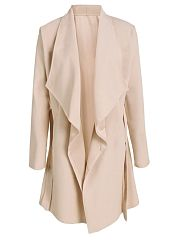Plain European Style Lapel Trench-Coats