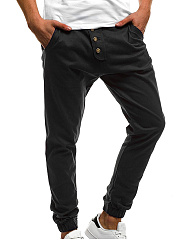 Patch Pocket  Plain  Pegged  Mid-Rise Men's Casual Pants