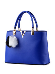 Color Block Fur Ball V Shape Decorative Shoulder Bag