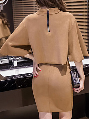 Crew Neck  Plain  Cape Sleeve Bodycon Dresses