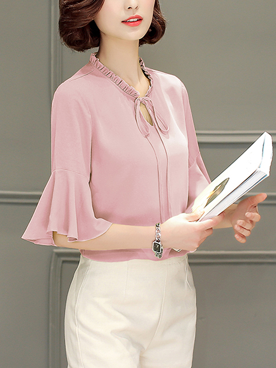 Tie Collar  Bell Sleeve Blouses