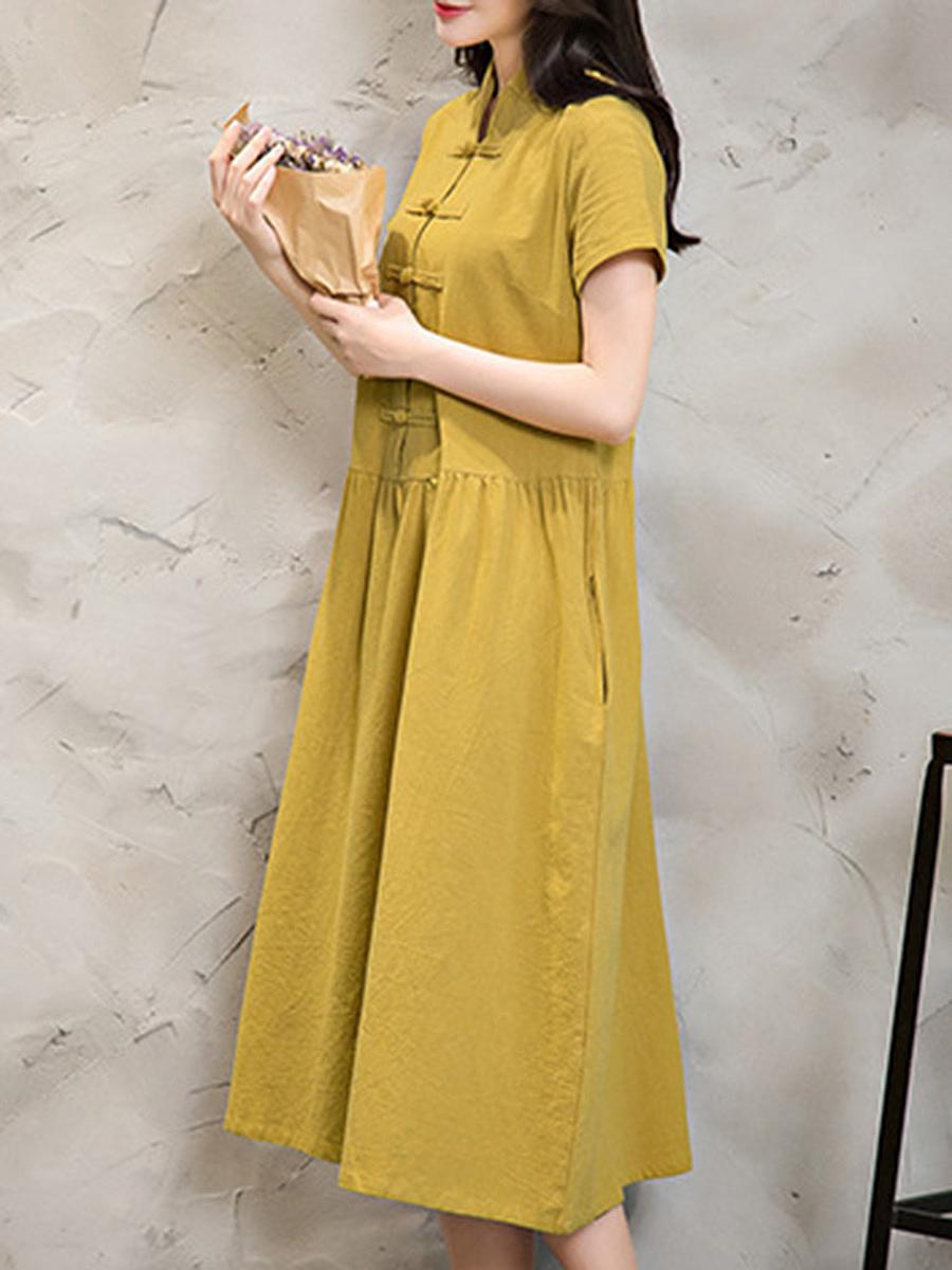 Band Collar  Plain Maxi Dress