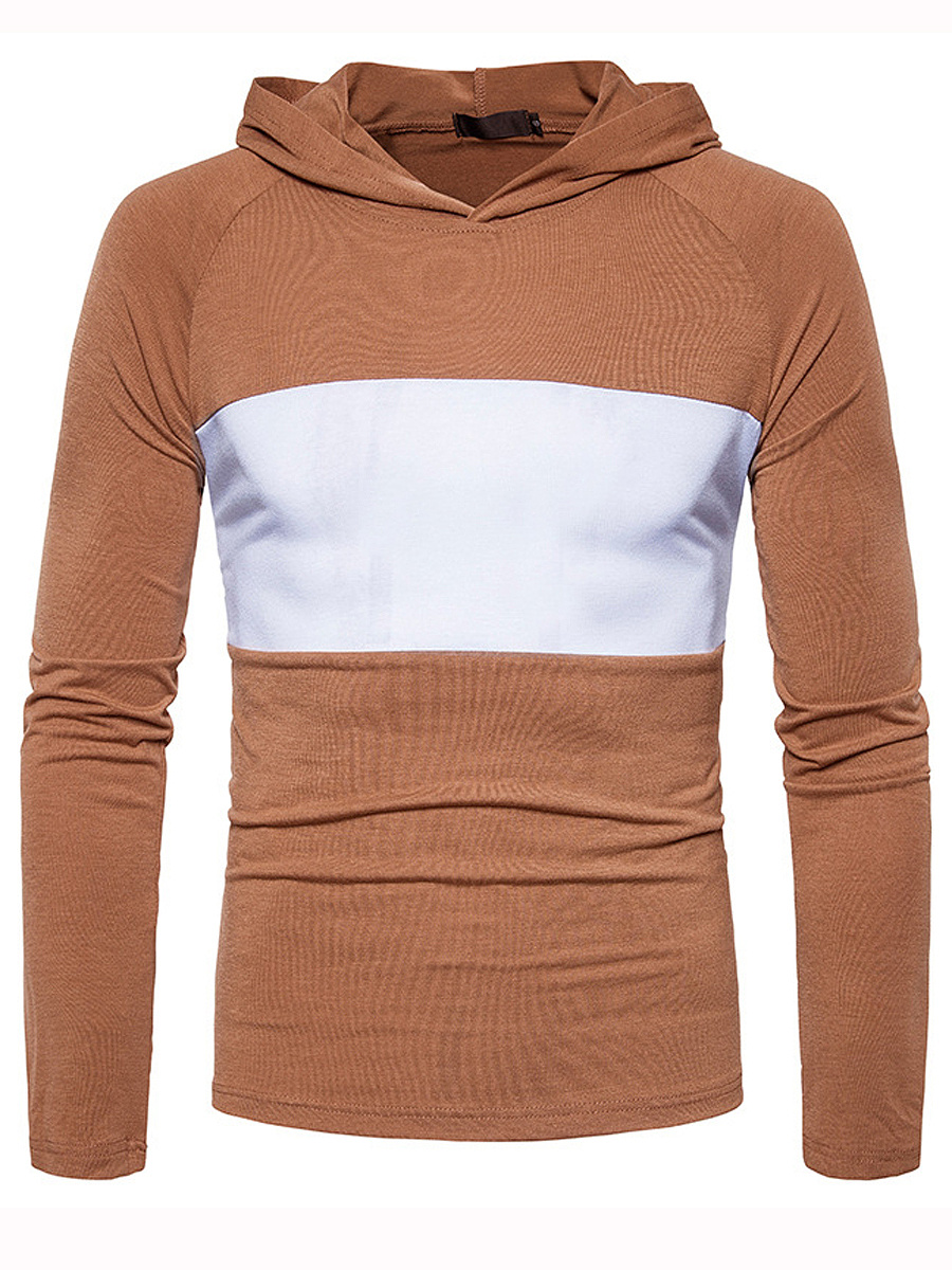 Long Sleeve Color Block Men Hoodie