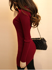 Women Split Neck Solid Knitted Bodycon Dress
