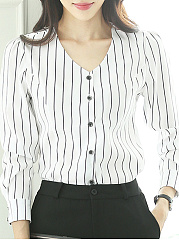 V Neck  Patchwork  Brief  Striped  Long Sleeve  Blouse