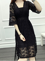 Deep V-Neck  Elastic Waist  Lace Skater Dress