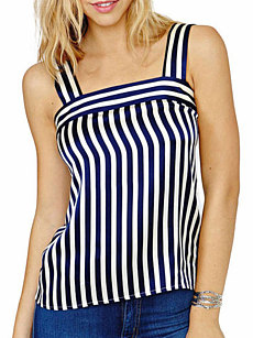 Summer  Polyester  Women  Spaghetti Strap  Striped Sleeveless T-Shirts