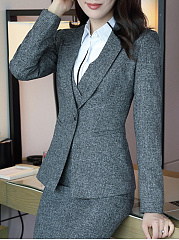 Narrow Notch Lapel  Patch Pocket  Single Button  Plain  Long Sleeve Blazers