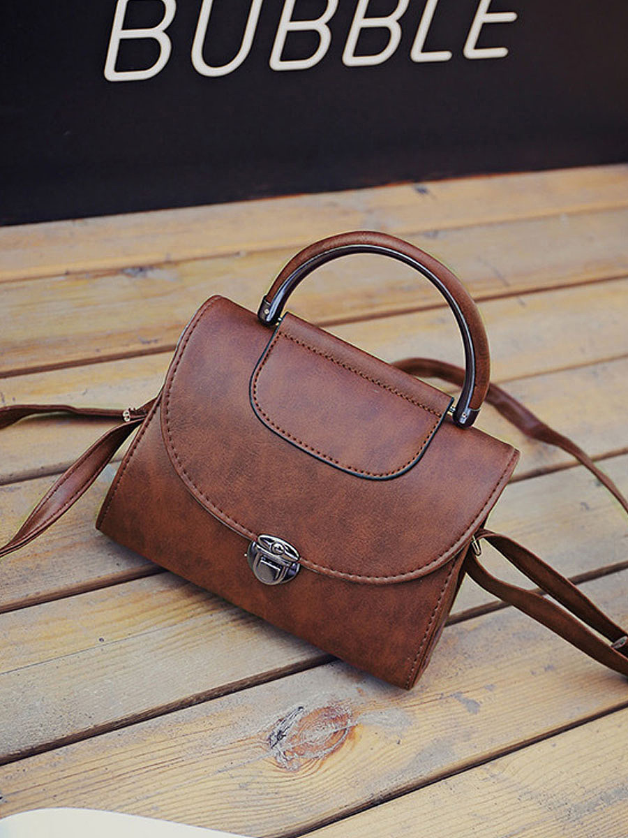Vintage PU Leather Crosssbody Bag Shoulder Bag